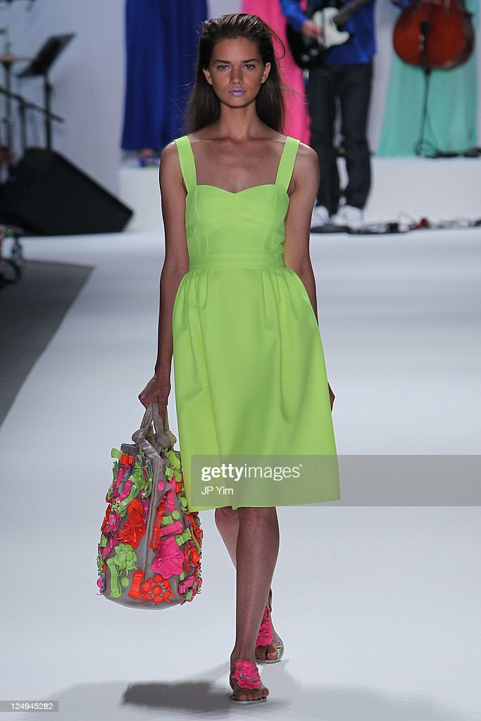 A model walks the runway at the Nanette Lepore Spring 2012 fashion show during Mercedes-Benz Fashion Week at The Stage at Lincoln Center on September 14, 2011 in New York City.