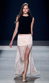 A model walks the runway at the Narciso Rodriguez fashion show during MercedesBenz Fashion Week Spring 2014 at Sir Stage37 on September 10 2013 in...