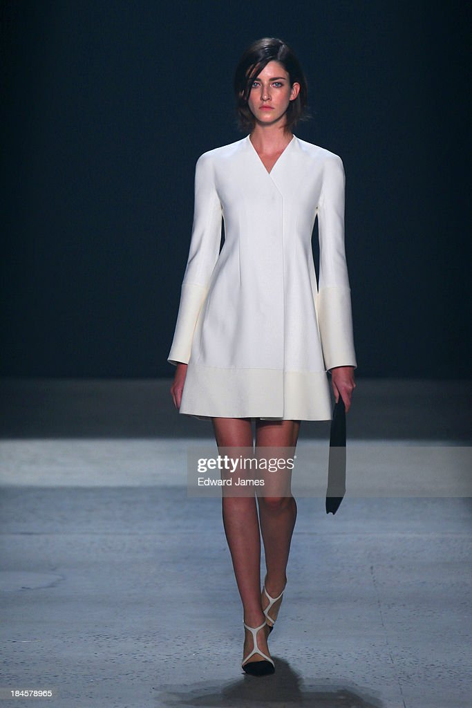 A model walks the runway at the Narciso Rodriguez fashion show during Mercedes-Benz Fashion Week Spring 2014 at Sir Stage37 on September 10, 2013 in New York City.