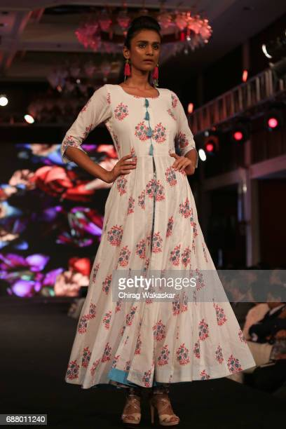 A model walks the runway at the Neha Pandey show during Shoppers Stop Designer of tghe Year awards 2017 held at Four Seaons on May 24 2017 in Mumbai...