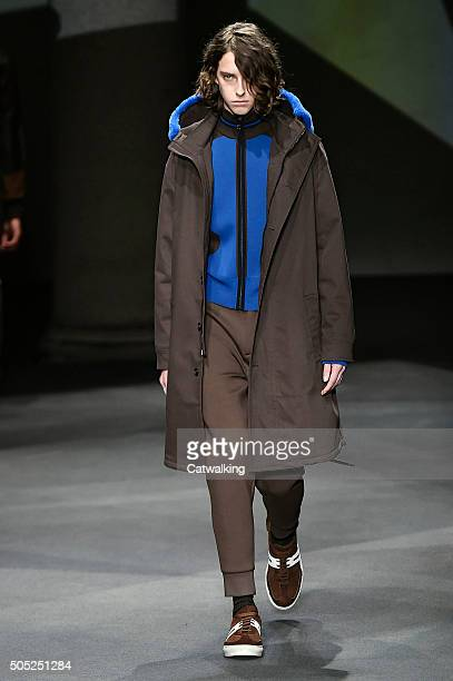 A model walks the runway at the Neil Barrett Autumn Winter 2016 fashion show during Milan Menswear Fashion Week on January 16 2016 in Milan Italy