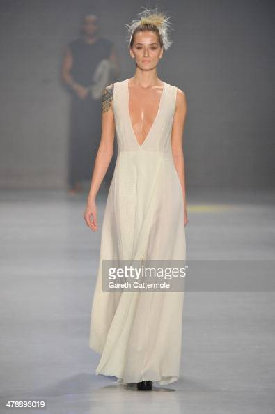 A model walks the runway at the Nej show during MBFWI presented by American Express Fall/Winter 2014 on March 15 2014 in Istanbul Turkey