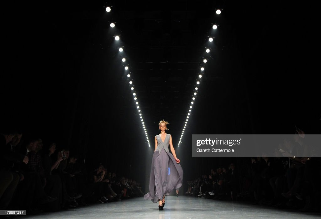 A model walks the runway at the Nej show during MBFWI presented by American Express Fall/Winter 2014 on March 15, 2014 in Istanbul, Turkey.