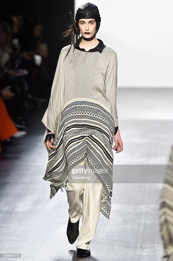 A model walks the runway at the Nicholas K Autumn Winter 2016 fashion show during New York Fashion Week on February 11, 2016 in New York, United States.