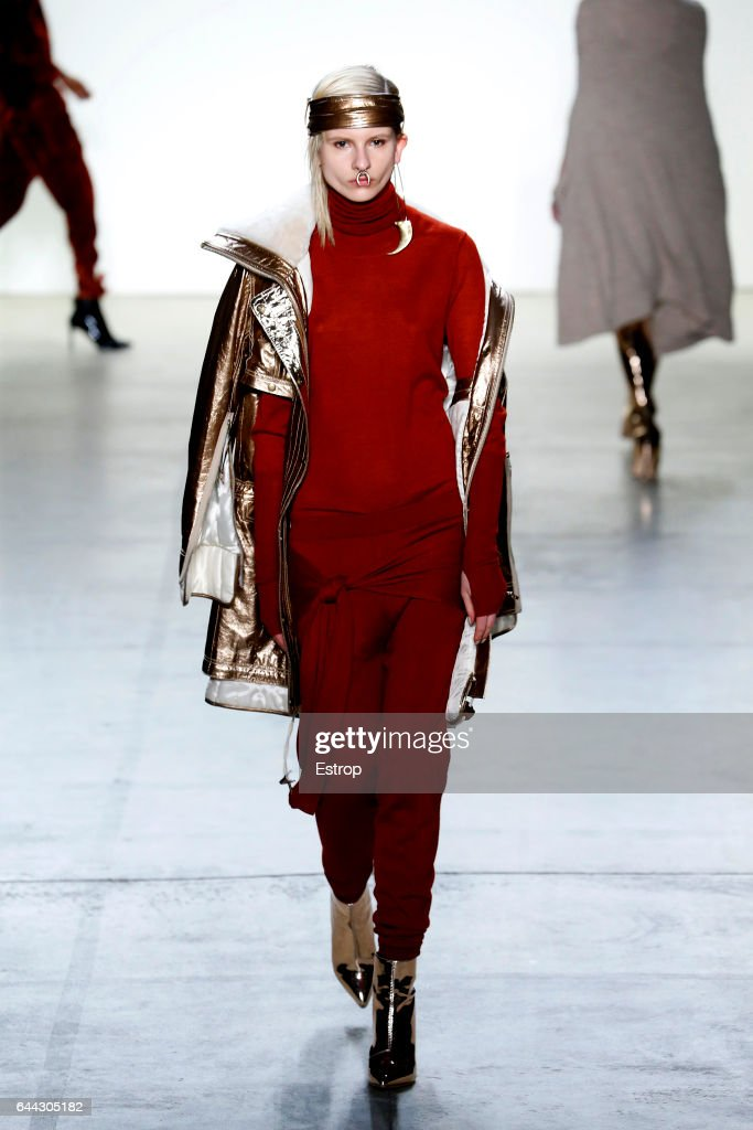 A model walks the runway at the Nicholas K designed by Christopher & Nicholas Kun show during the New York Fashion Week February 2017 collections on February 9, 2017 in New York City.