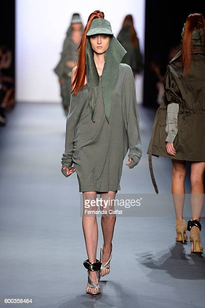 A model walks the runway at the Nicholas K fashion show during new York Fashion Week The Shows at The Dock Skylight at Moynihan Station on September...