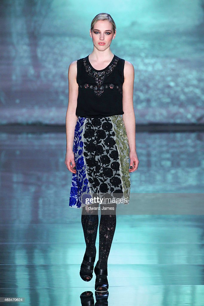 A model walks the runway at the Nicole Miller fashion show at The Salon at Lincoln Center on February 13, 2015 in New York City.