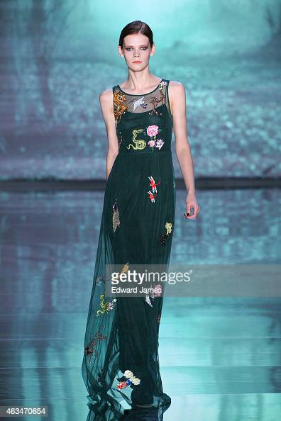 A model walks the runway at the Nicole Miller fashion show at The Salon at Lincoln Center on February 13 2015 in New York City
