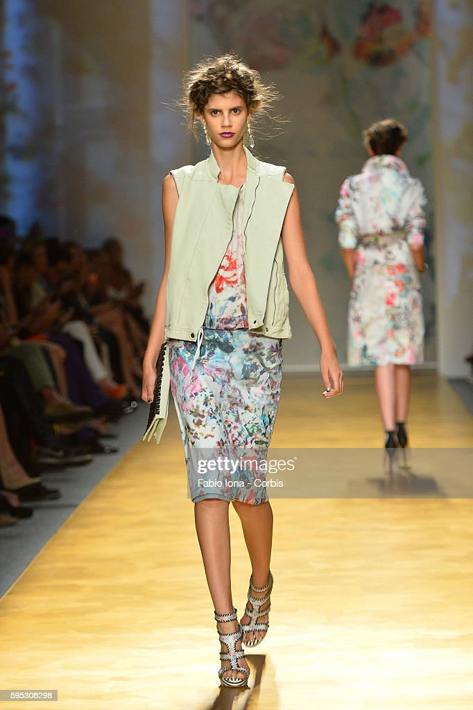 A model walks the runway at the Nicole Miller Spring Summer 2014 fashion show during New York Fashion Week on September 6 2013 in New York United...