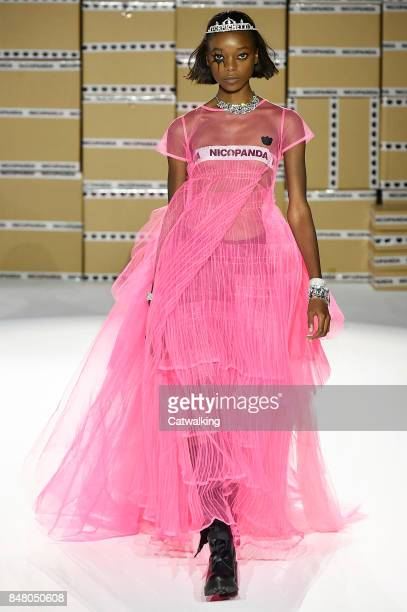 A model walks the runway at the Nicopanda Spring Summer 2018 fashion show during London Fashion Week on September 16 2017 in London United Kingdom