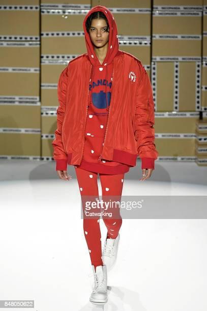 A model walks the runway at the Nicopanda Spring Summer 2018 fashion show during London Fashion Week on September 16 2017 in London United Kingdom