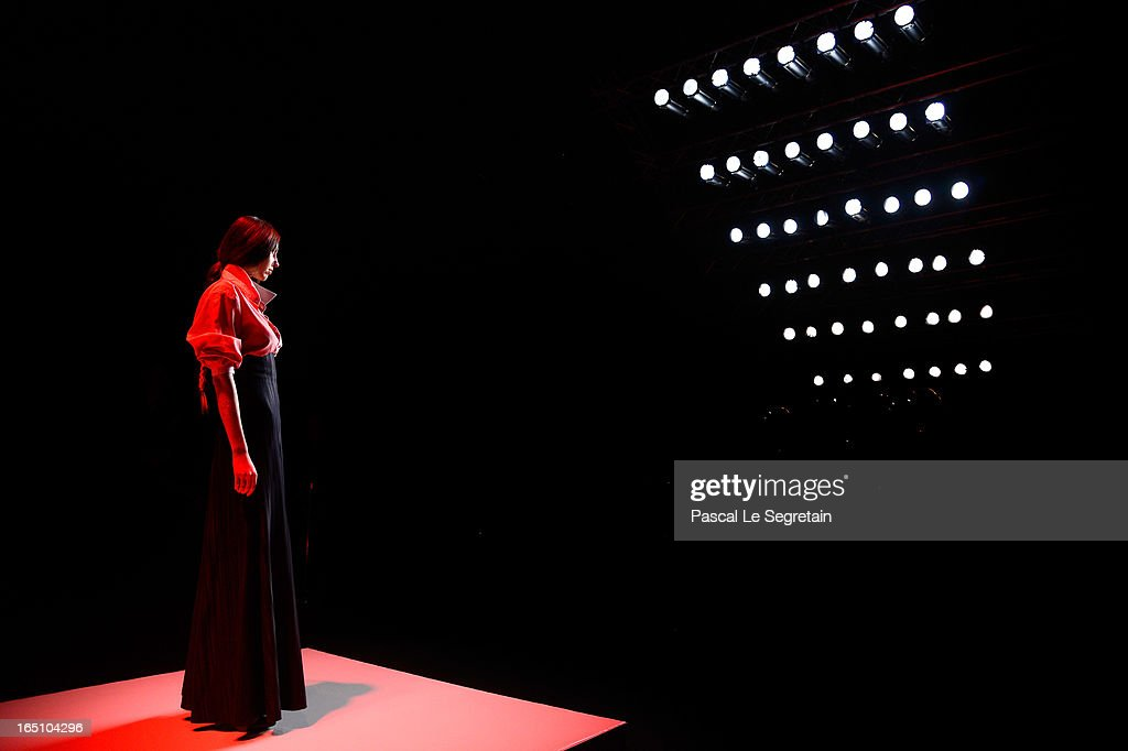 A model walks the runway at the Nikolai Kyvyrzhik by Slava Zaitsev show during Mercedes-Benz Fashion Week Russia Fall/Winter 2013/2014 at Manege on March 30, 2013 in Moscow, Russia.