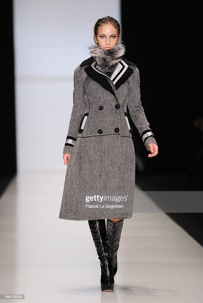 A model walks the runway at the Nikolay Krasnikov show during Mercedes-Benz Fashion Week Russia Fall/Winter 2013/2014 at Manege on March 31, 2013 in Moscow, Russia.