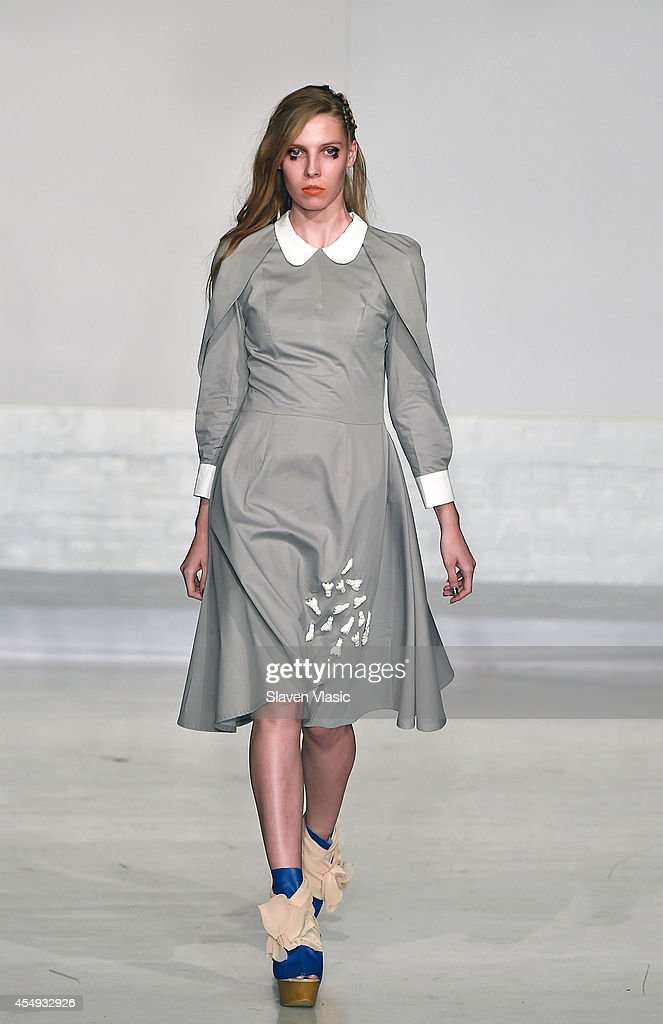 A model walks the runway at the Nina Athanasiou fashion show during MercedesBenz Fashion Week Spring 2015 at The Designer's Loft on September 7 2014...