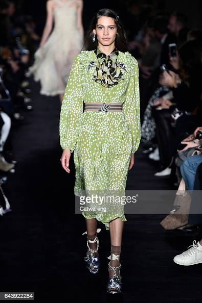 A model walks the runway at the No21 Autumn Winter 2017 fashion show during Milan Fashion Week on February 22 2017 in Milan Italy