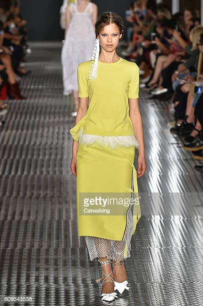 A model walks the runway at the No21 Spring Summer 2017 fashion show during Milan Fashion Week on September 21 2016 in Milan Italy