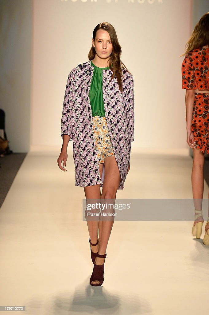 A model walks the runway at the Noon By Noor Spring 2014 fashion show during Mercedes-Benz Fashion Week at Lincoln Center on September 6, 2013 in New York City.