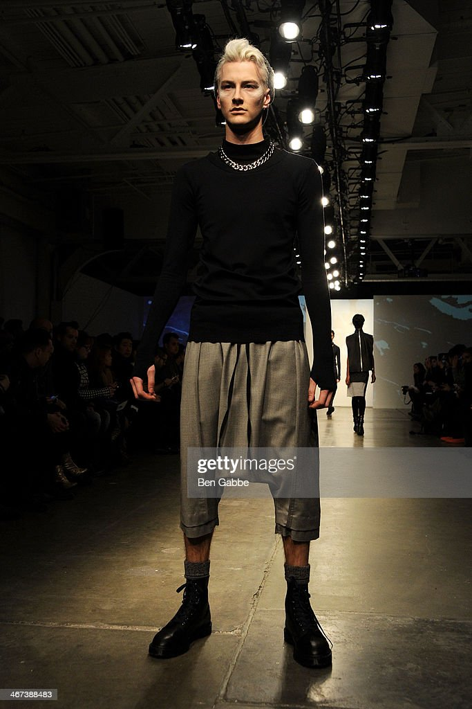A model walks the runway at the ODD presentation during MercedesBenz Fashion Week Fall 2014 at Pier 59 on February 6 2014 in New York City