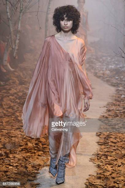 A model walks the runway at the OffWhite Autumn Winter 2017 fashion show during Paris Fashion Week on March 2 2017 in Paris France