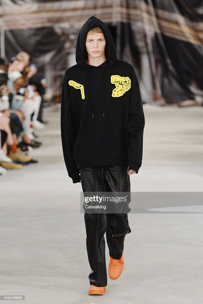 A model walks the runway at the Off-White Spring Summer 2017 fashion show during Paris Menswear Fashion Week on June 26, 2016 in Paris, France.