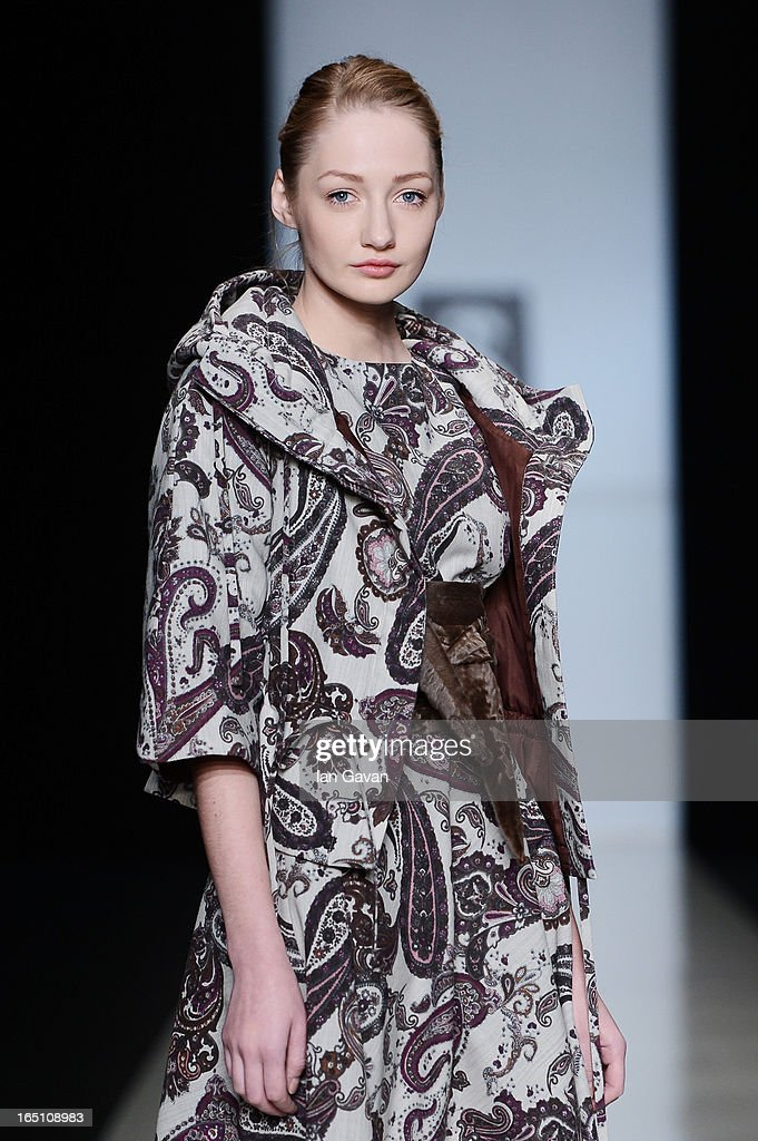 A model walks the runway at the Olga Brovkina show during Mercedes-Benz Fashion Week Russia Fall/Winter 2013/2014 at Manege on March 30, 2013 in Moscow, Russia.