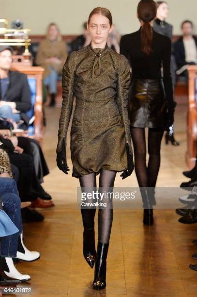 A model walks the runway at the Olivier Theyskens Autumn Winter 2017 fashion show during Paris Fashion Week on February 28 2017 in Paris France