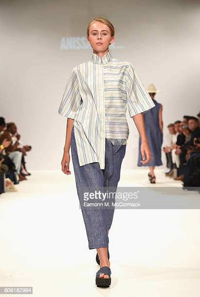 A model walks the runway at the Ones To Watch show at Fashion Scout during London Fashion Week Spring/Summer collections 2017 on September 16 2016 in...