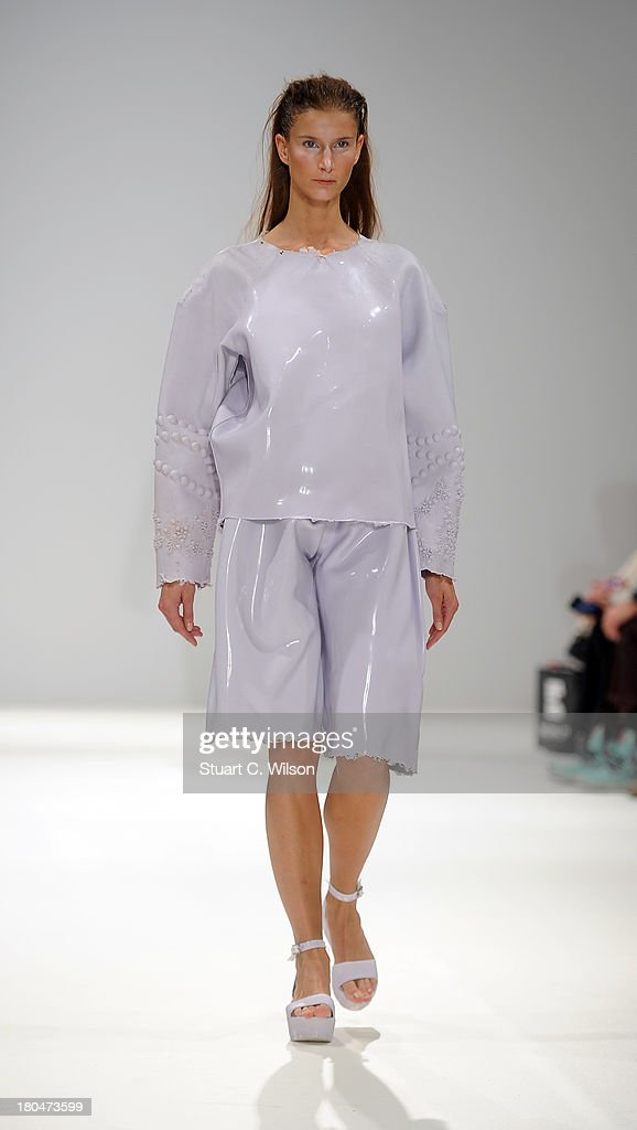 A model walks the runway at the Ones To Watch show during at the Fashion Scout venue during London Fashion Week SS14 at Freemasons Hall on September 13, 2013 in London, England.