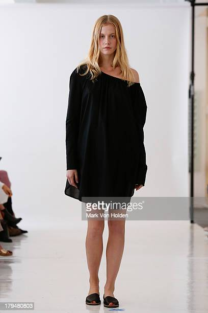 A model walks the runway at the Organic By John Patrick fashion show during MercedesBenz Fashion Week Spring 2014 on September 4 2013 in New York City