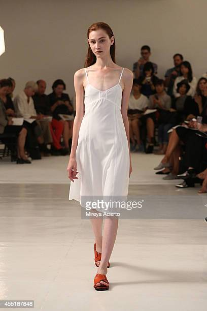 A model walks the runway at the Organic By John Patrick runway show during MercedesBenz Fashion Week Spring 2015 on September 10 2014 in New York City