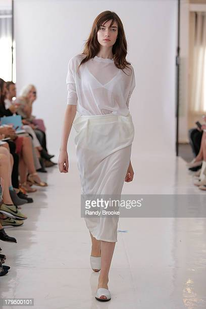 A model walks the runway at the Organic By John Patrick show during Spring 2014 MercedesBenz Fashion Week at on September 4 2013 in New York City