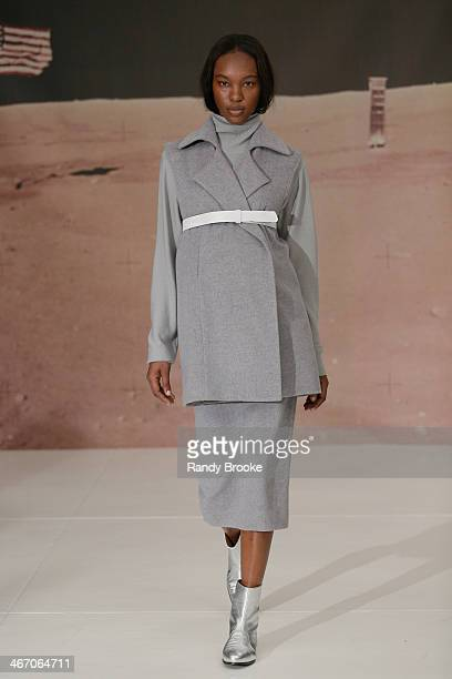 A model walks the runway at the Organic By John Patrick show during MercedesBenz Fashion Week Fall 2014 at 245 West 29th Street on February 5 2014 in...