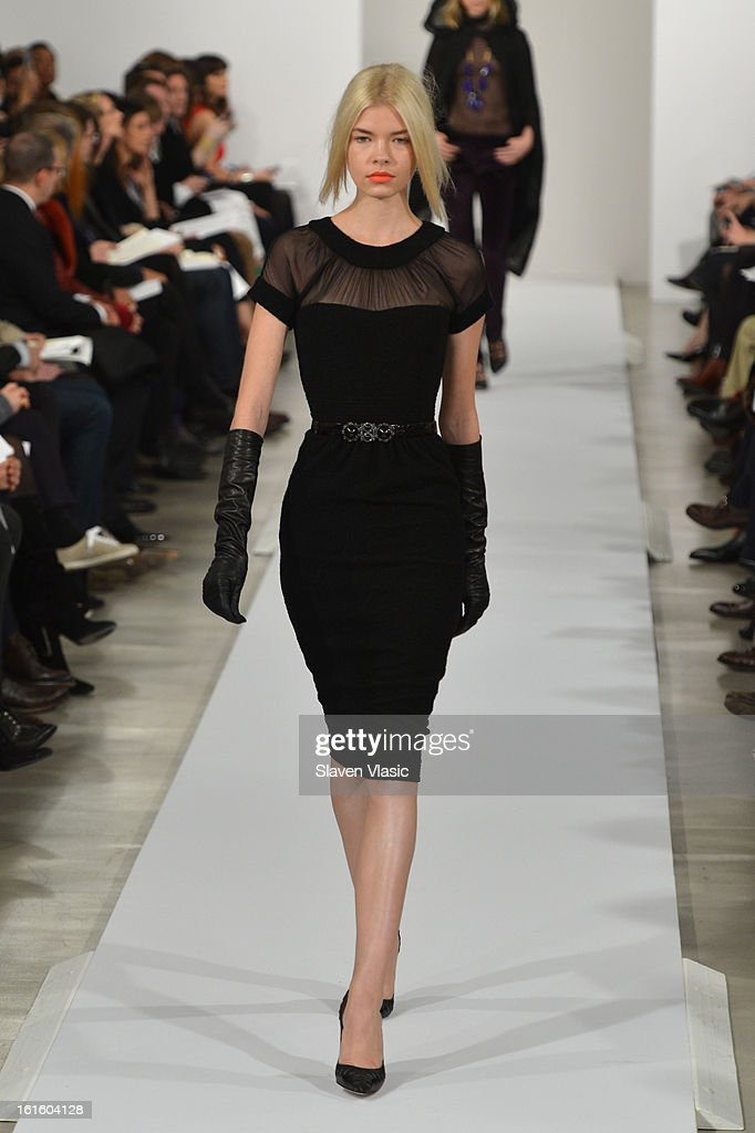 A model walks the runway at the Oscar De La Renta Fall 2013 fashion show during Mercedes-Benz Fashion Week at 11 West 42nd Street on February 12, 2013 in New York City.