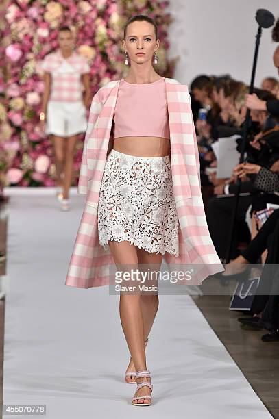 A model walks the runway at the Oscar De La Renta fashion show during MercedesBenz Fashion Week Spring 2015 on September 9 2014 in New York City