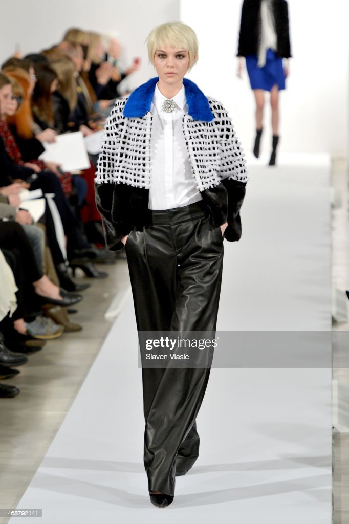 A model walks the runway at the Oscar De La Renta fashion show during Mercedes-Benz Fashion Week Fall 2014 on February 11, 2014 in New York City.