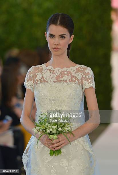 A model walks the runway at the Oscar De La Renta Spring 2015 Bridal collection show on April 11 2014 in New York City