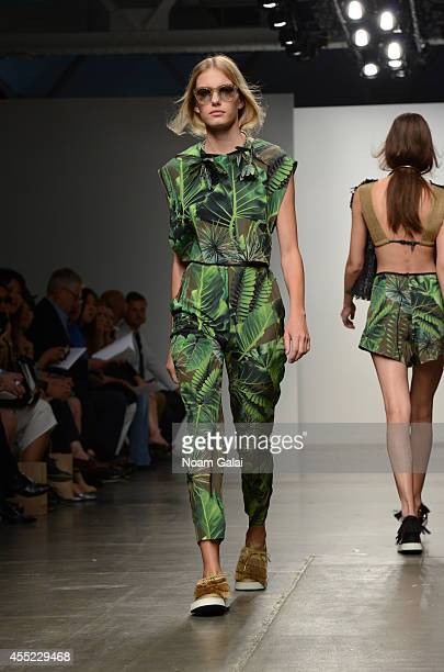 A model walks the runway at the Osklen fashion show during MercedesBenz Fashion Week Spring 2015 at Pier 59 on September 10 2014 in New York City