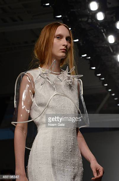 A model walks the runway at the Osklenfashion show during MercedesBenz Fashion Week Spring 2015 at Pier 59 on September 10 2014 in New York City