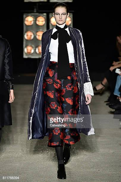 A model walks the runway at the Osman Autumn Winter 2016 fashion show during London Fashion Week on February 22 2016 in London United Kingdom