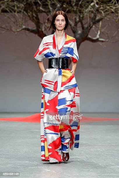 A model walks the runway at the OSMAN show during London Fashion Week Spring/Summer 2016/17 on September 21 2015 in London England