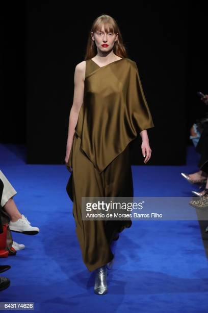 A model walks the runway at the OSMAN show during the London Fashion Week February 2017 collections on February 20 2017 in London England