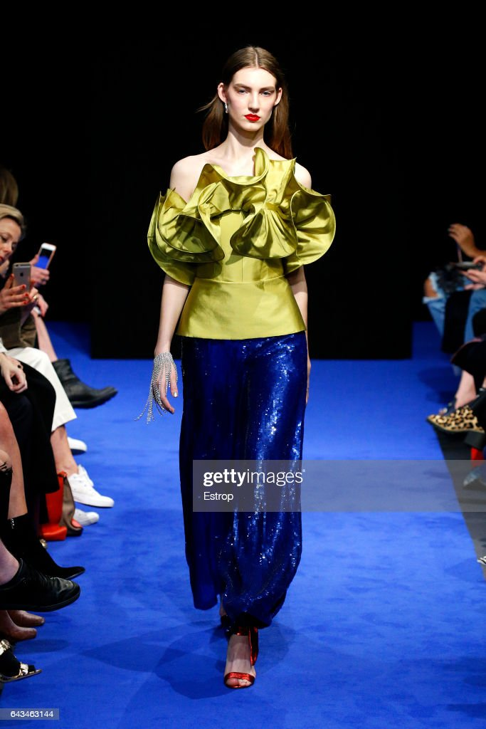 model-walks-the-runway-at-the-osman-show-during-the-london-fashion-picture-id643463144