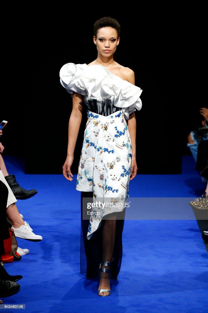 model-walks-the-runway-at-the-osman-show-during-the-london-fashion-picture-id643463146