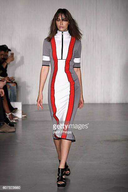 A model walks the runway at the Pa5h show during London Fashion Week Spring/Summer collections 2017 on September 17 2016 in London United Kingdom