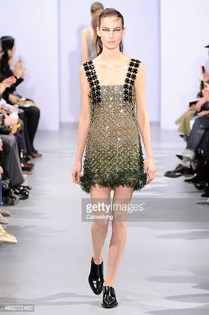 A model walks the runway at the Paco Rabanne Autumn Winter 2015 fashion show during Paris Fashion Week on March 5 2015 in Paris France