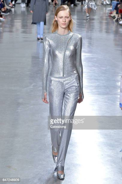 A model walks the runway at the Paco Rabanne Autumn Winter 2017 fashion show during Paris Fashion Week on March 2 2017 in Paris France