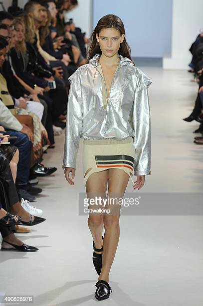 A model walks the runway at the Paco Rabanne Spring Summer 2016 fashion show during Paris Fashion Week on October 1 2015 in Paris France