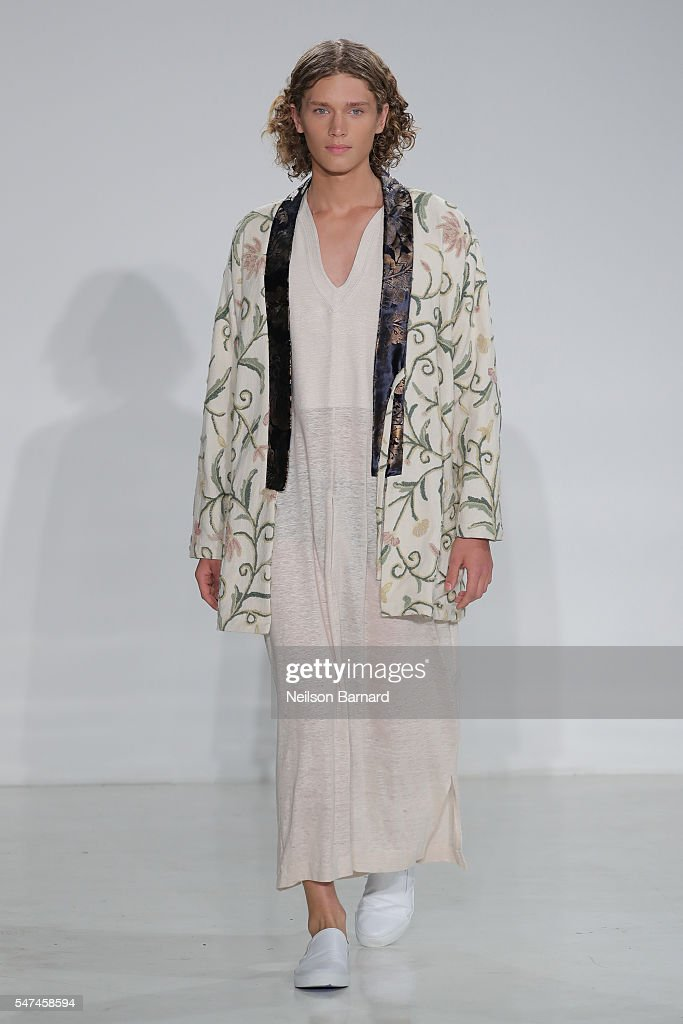 A model walks the runway at the Palmiers Du Mal runway show at Skylight Clarkson Sq on July 14 2016 in New York City