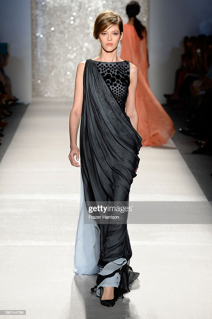 A model walks the runway at the Pamella Roland fashion show during Mercedes-Benz Fashion Week Spring 2014 on September 9, 2013 in New York City.