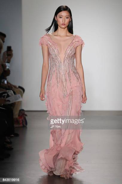A model walks the runway at the Pamella Roland Spring 2018 Collection during New York Fashion Week at Pier 59 on September 6 2017 in New York City
